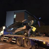 They wouldn't let us land in the car park so we used a lorry!
